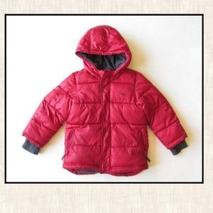 Old Navy Boys 5T Red Puffer Coat Jacket Hooded